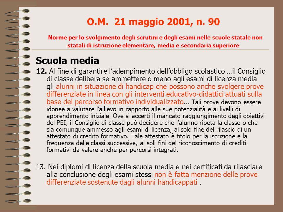 O.M. 21 maggio 2001, n. 90 Norme per lo svolgimento degli scrutini e degli esami nelle scuole statale non statali di istruzione elementare, media e se