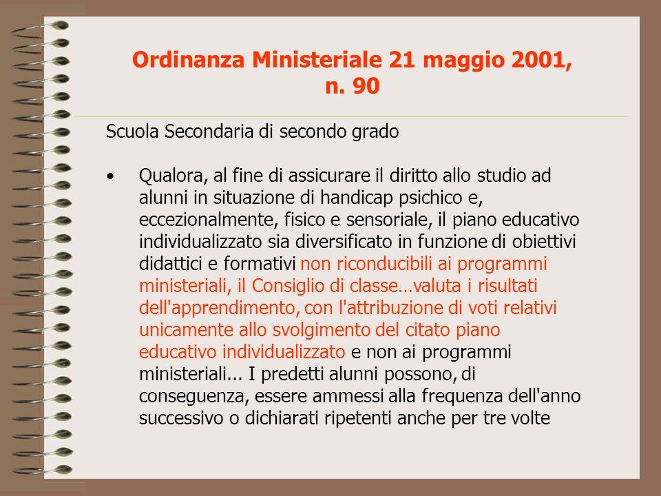 Ordinanza Ministeriale 21 maggio 2001, n. 90 Scuola Secondaria di secondo grado Qualora, al fine di assicurare il diritto allo studio ad alunni in sit