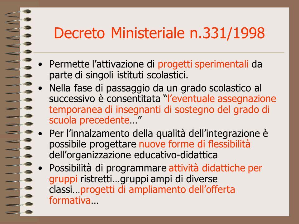 Decreto Ministeriale n.331/1998 Permette lattivazione di progetti sperimentali da parte di singoli istituti scolastici. Nella fase di passaggio da un