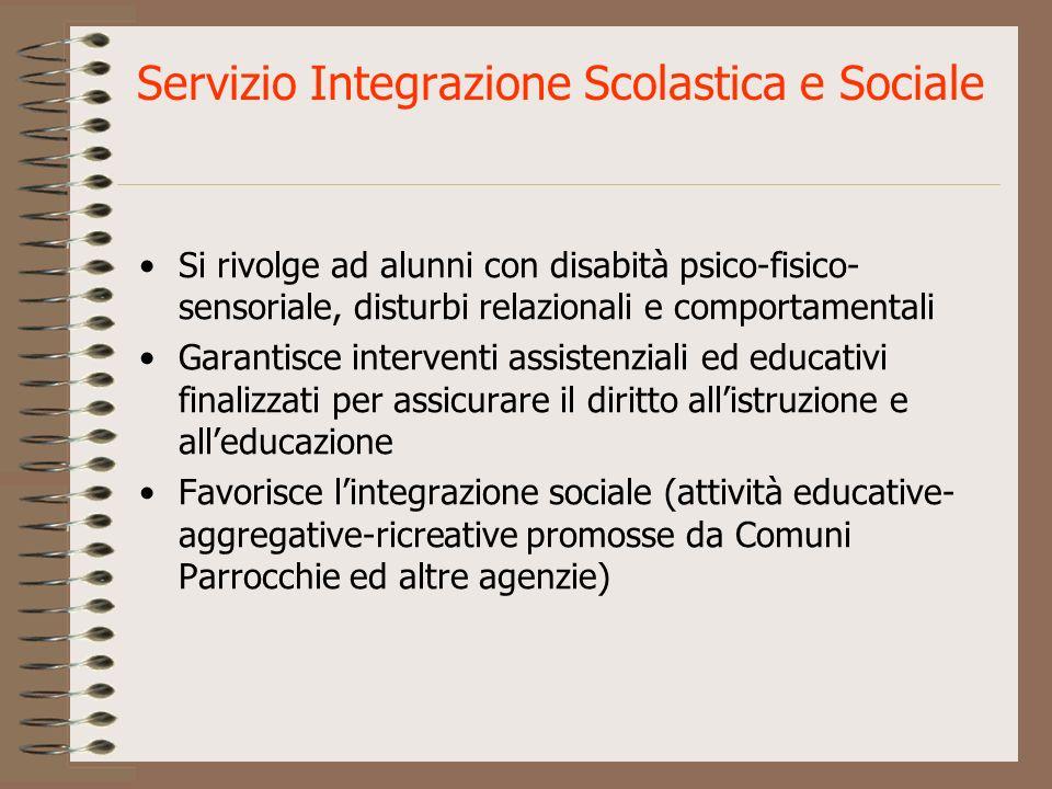 Servizio Integrazione Scolastica e Sociale Si rivolge ad alunni con disabità psico-fisico- sensoriale, disturbi relazionali e comportamentali Garantis