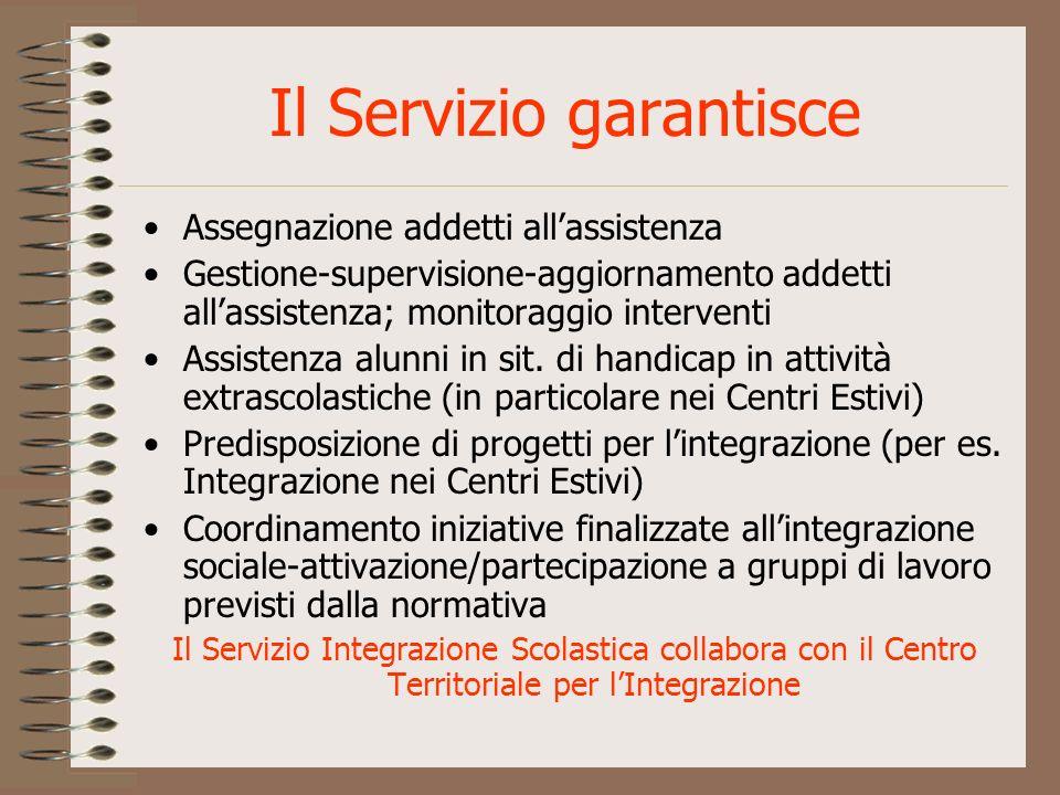 Il Servizio garantisce Assegnazione addetti allassistenza Gestione-supervisione-aggiornamento addetti allassistenza; monitoraggio interventi Assistenz