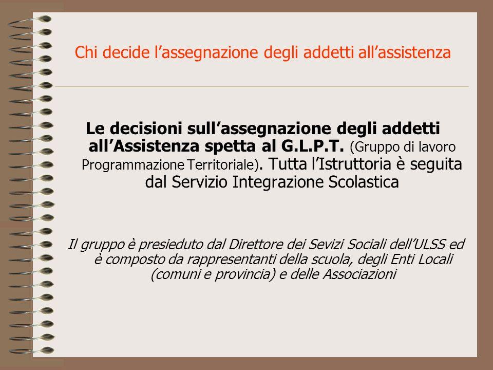 Chi decide lassegnazione degli addetti allassistenza Le decisioni sullassegnazione degli addetti allAssistenza spetta al G.L.P.T. (Gruppo di lavoro Pr