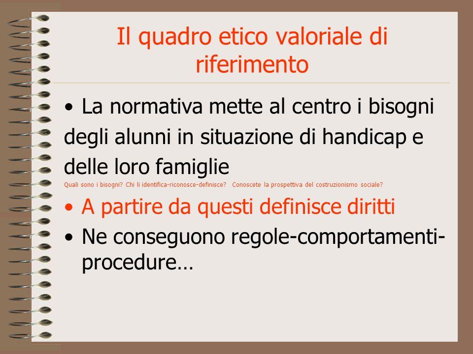 Principi fondamentali-1° 1.Gli alunni in situazione di handicap vanno inseriti nelle sezioni-classi comuni Perché.