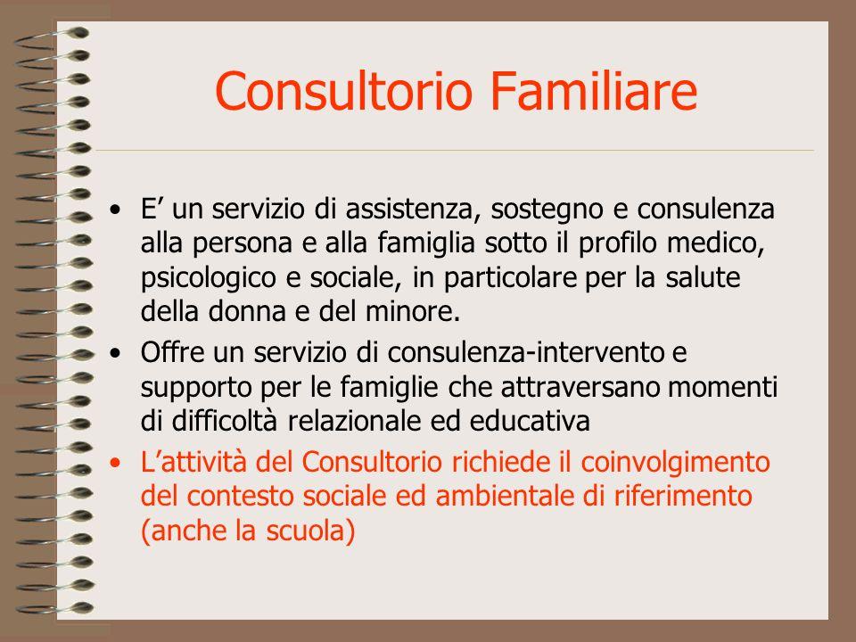 Consultorio Familiare E un servizio di assistenza, sostegno e consulenza alla persona e alla famiglia sotto il profilo medico, psicologico e sociale,