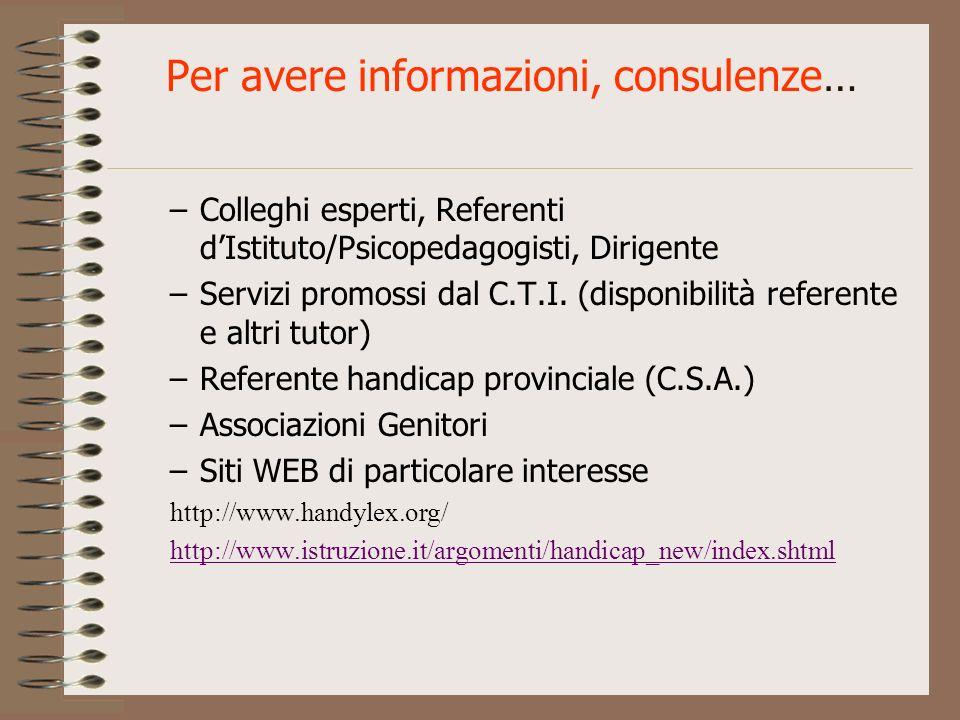 Per avere informazioni, consulenze… –Colleghi esperti, Referenti dIstituto/Psicopedagogisti, Dirigente –Servizi promossi dal C.T.I. (disponibilità ref