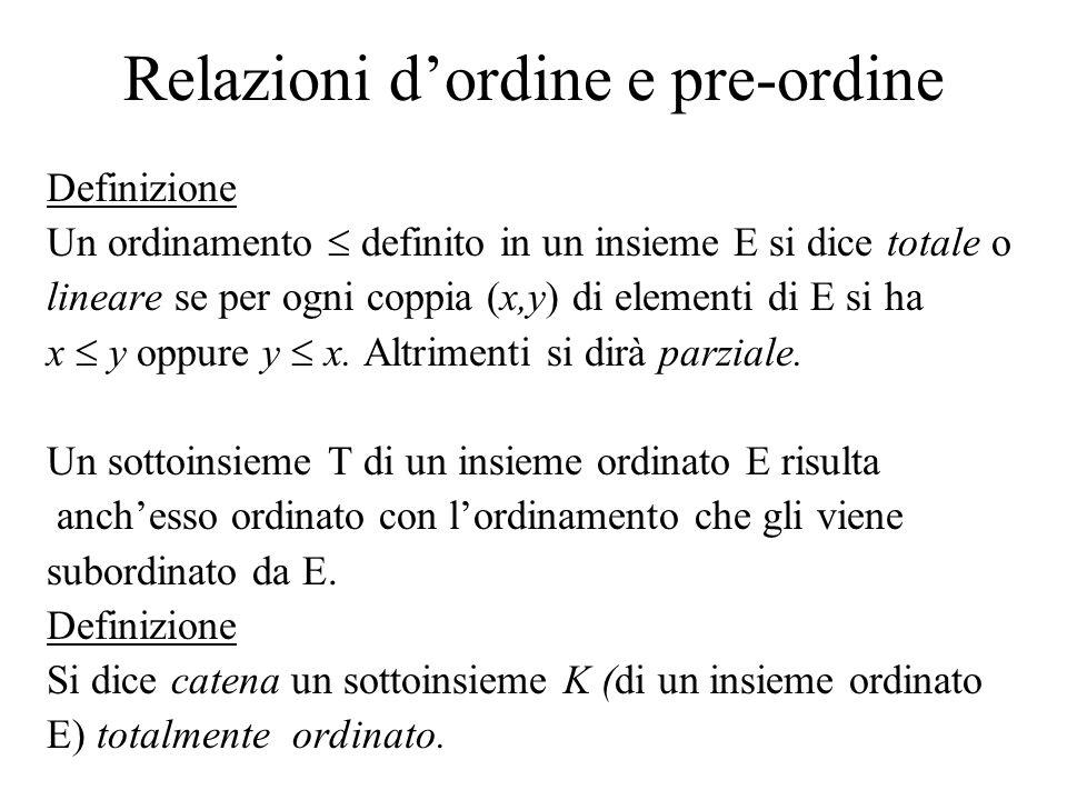 Relazioni dordine e pre-ordine Definizione Un ordinamento definito in un insieme E si dice totale o lineare se per ogni coppia (x,y) di elementi di E