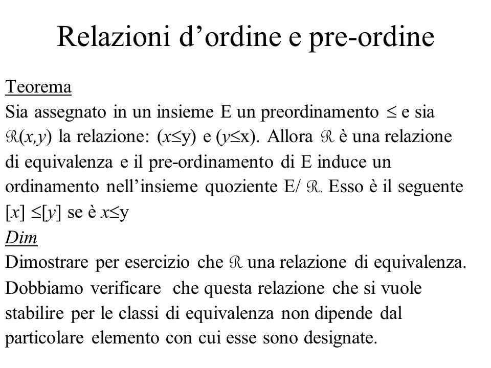 Relazioni dordine e pre-ordine Teorema Sia assegnato in un insieme E un preordinamento e sia R (x,y) la relazione: (x y) e (y x). Allora R è una relaz