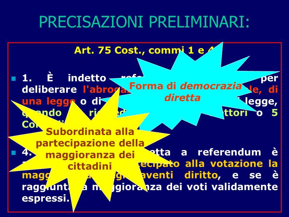 PRECISAZIONI PRELIMINARI: Art.75 Cost., commi 1 e 4 1.