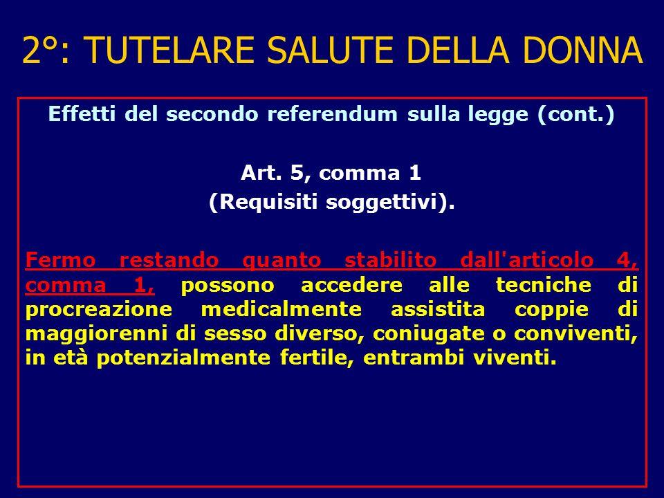 2°: TUTELARE SALUTE DELLA DONNA Effetti del secondo referendum sulla legge (cont.) Art.
