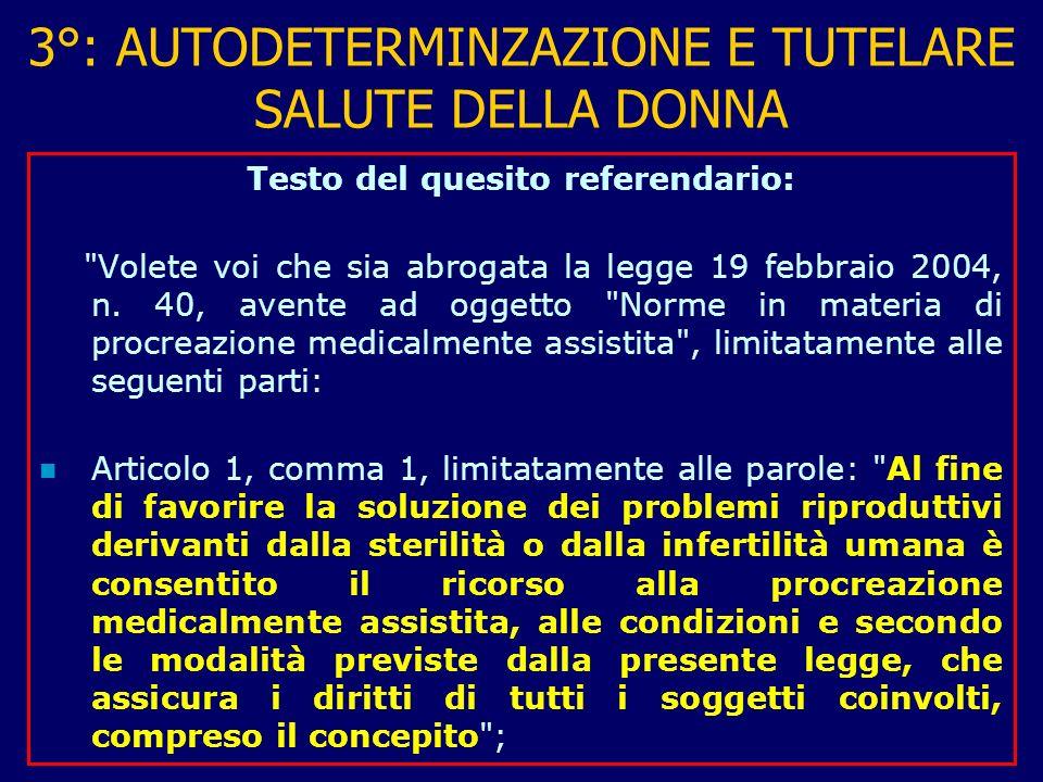 3°: AUTODETERMINZAZIONE E TUTELARE SALUTE DELLA DONNA Testo del quesito referendario: Volete voi che sia abrogata la legge 19 febbraio 2004, n.