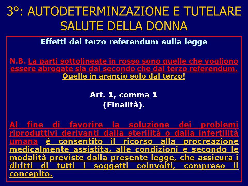 3°: AUTODETERMINZAZIONE E TUTELARE SALUTE DELLA DONNA Effetti del terzo referendum sulla legge N.B.