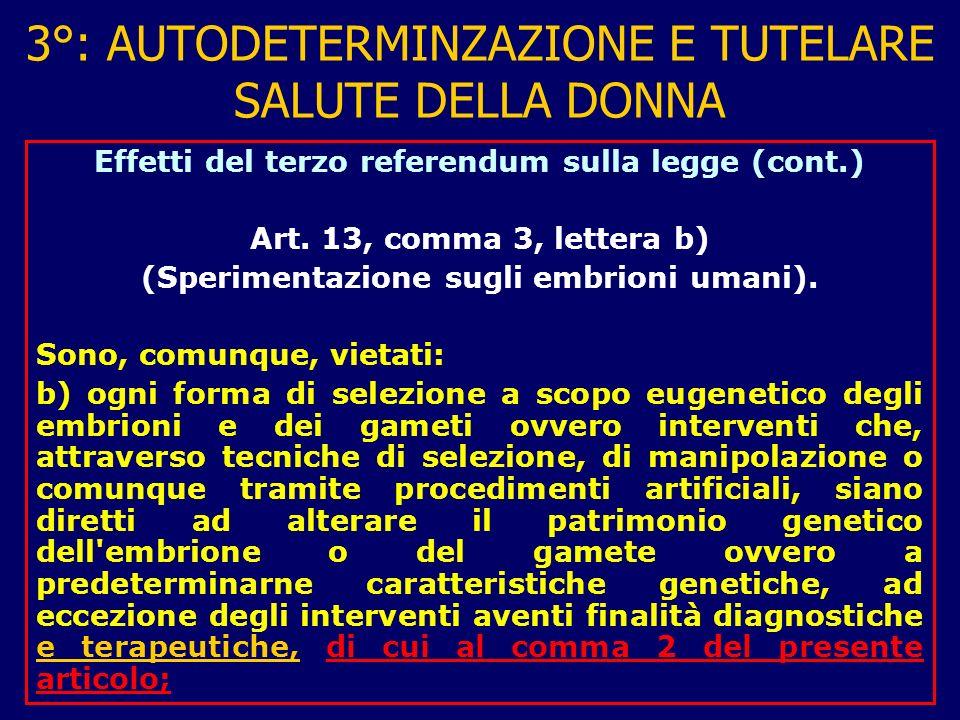 3°: AUTODETERMINZAZIONE E TUTELARE SALUTE DELLA DONNA Effetti del terzo referendum sulla legge (cont.) Art.