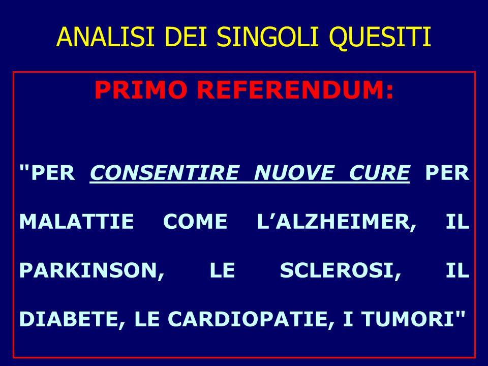 1°: CONSENTIRE NUOVE CURE Testo del quesito referendario: Volete voi che sia abrogata la legge 19 febbraio 2004, n.