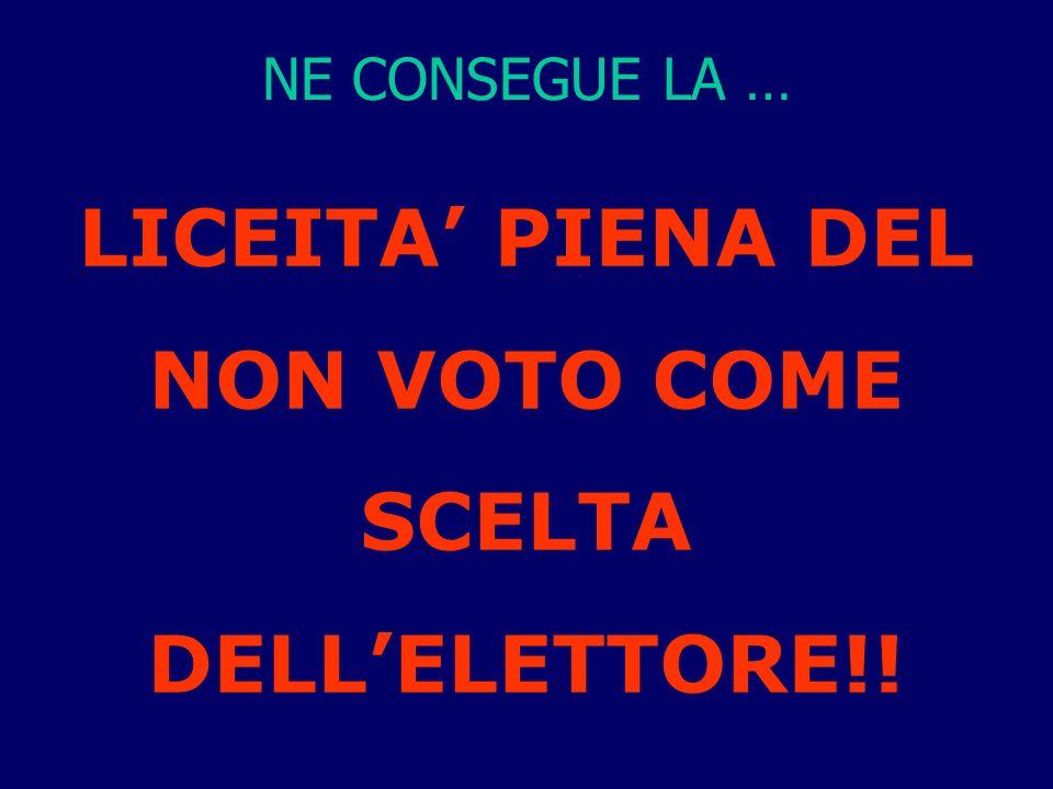 NE CONSEGUE LA … LICEITA PIENA DEL NON VOTO COME SCELTA DELLELETTORE!!
