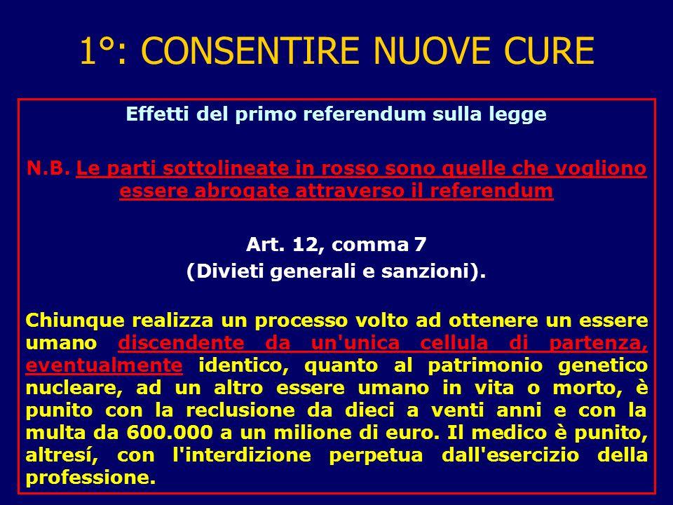 1°: CONSENTIRE NUOVE CURE Effetti del primo referendum sulla legge N.B.