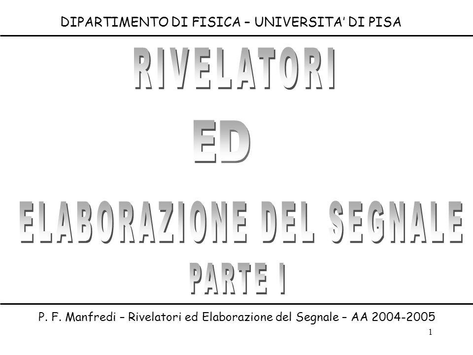 1 DIPARTIMENTO DI FISICA – UNIVERSITA DI PISA P. F. Manfredi – Rivelatori ed Elaborazione del Segnale – AA 2004-2005