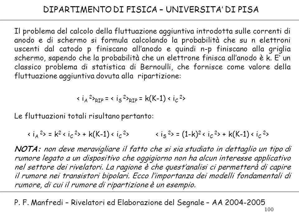 100 DIPARTIMENTO DI FISICA – UNIVERSITA DI PISA Il problema del calcolo della fluttuazione aggiuntiva introdotta sulle correnti di anodo e di schermo