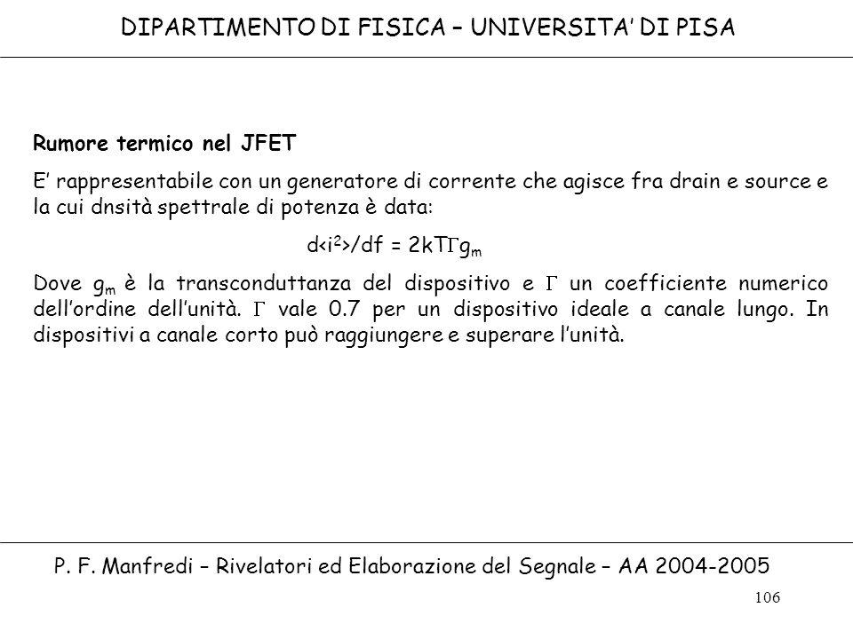 106 DIPARTIMENTO DI FISICA – UNIVERSITA DI PISA P. F. Manfredi – Rivelatori ed Elaborazione del Segnale – AA 2004-2005 Rumore termico nel JFET E rappr