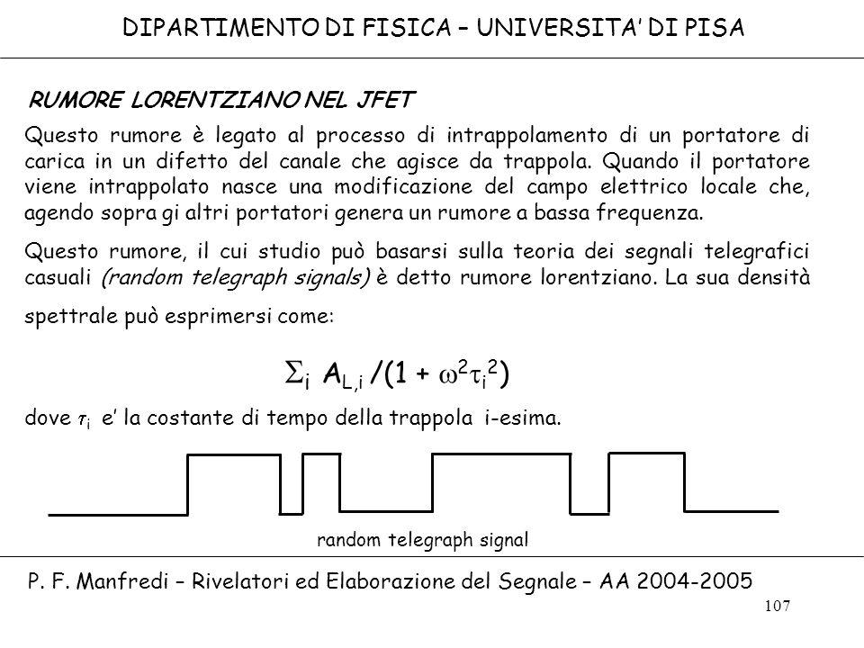 107 DIPARTIMENTO DI FISICA – UNIVERSITA DI PISA P. F. Manfredi – Rivelatori ed Elaborazione del Segnale – AA 2004-2005 RUMORE LORENTZIANO NEL JFET Que