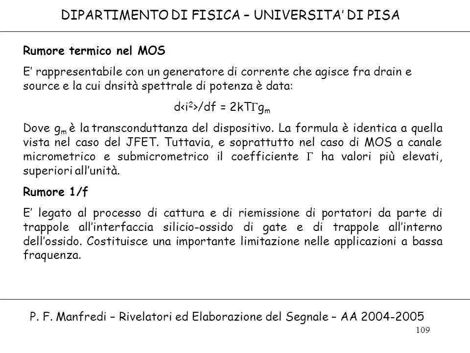 109 DIPARTIMENTO DI FISICA – UNIVERSITA DI PISA P. F. Manfredi – Rivelatori ed Elaborazione del Segnale – AA 2004-2005 Rumore termico nel MOS E rappre