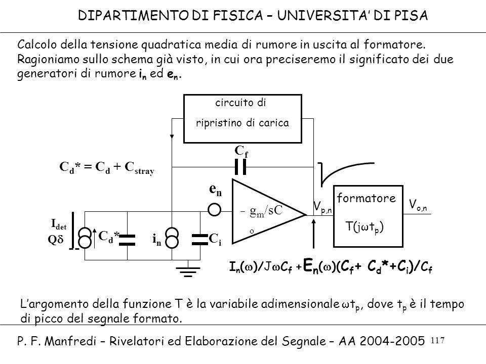 117 DIPARTIMENTO DI FISICA – UNIVERSITA DI PISA P. F. Manfredi – Rivelatori ed Elaborazione del Segnale – AA 2004-2005 enen g m /sC o circuito di ripr