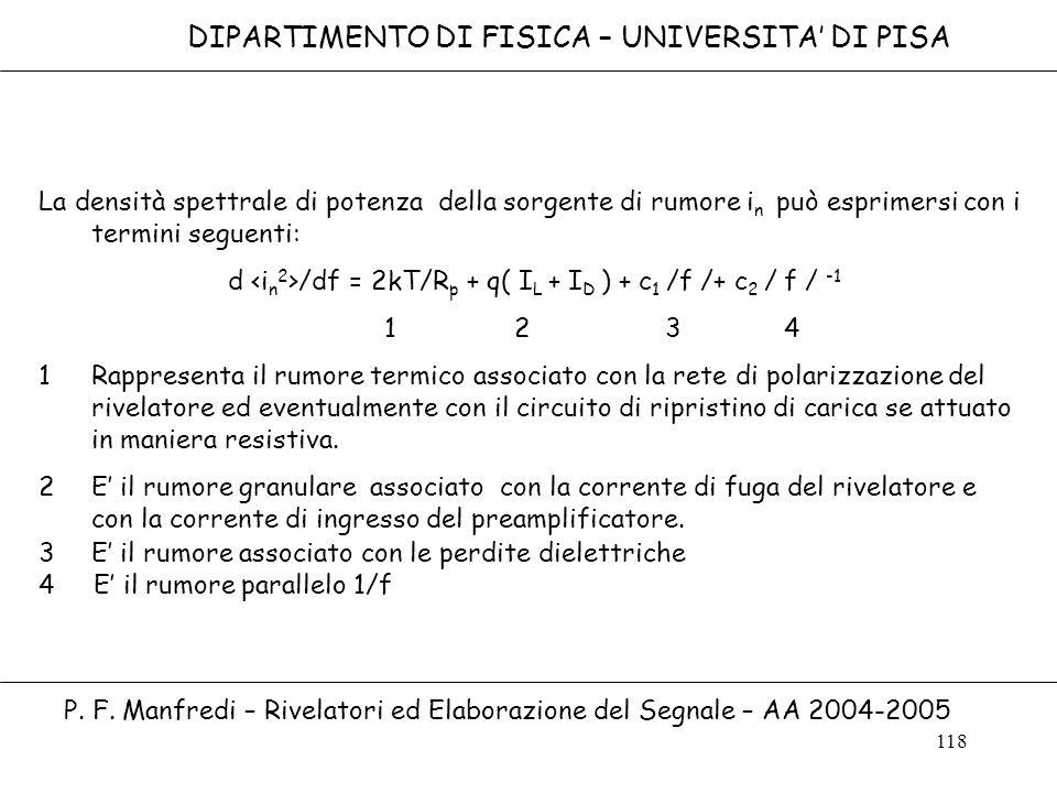 118 DIPARTIMENTO DI FISICA – UNIVERSITA DI PISA P. F. Manfredi – Rivelatori ed Elaborazione del Segnale – AA 2004-2005 La densità spettrale di potenza