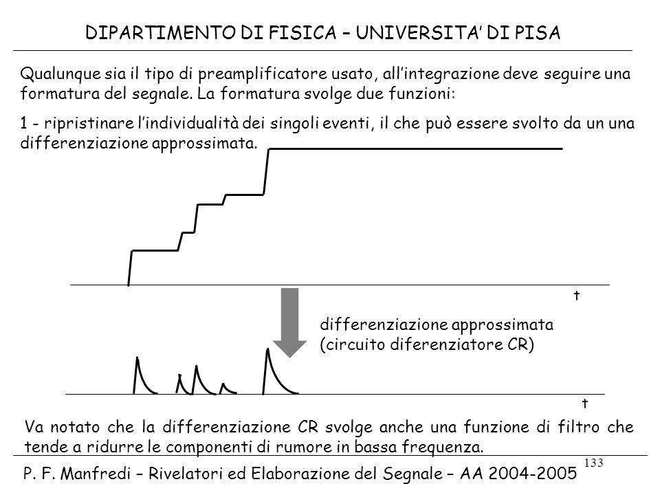 133 DIPARTIMENTO DI FISICA – UNIVERSITA DI PISA P. F. Manfredi – Rivelatori ed Elaborazione del Segnale – AA 2004-2005 Qualunque sia il tipo di preamp