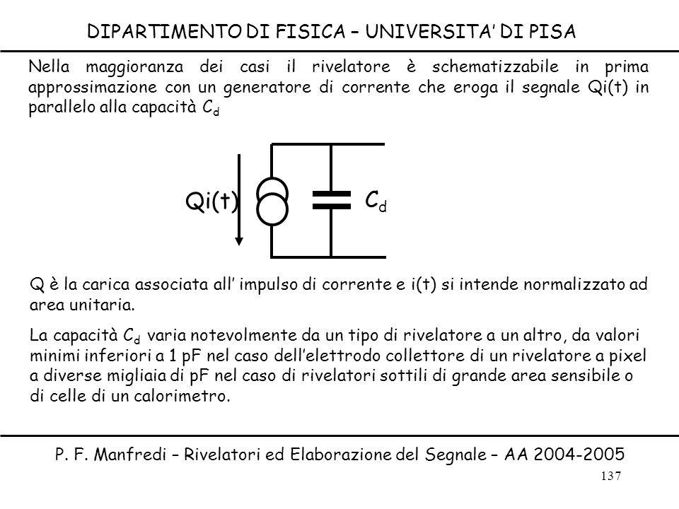 137 DIPARTIMENTO DI FISICA – UNIVERSITA DI PISA P. F. Manfredi – Rivelatori ed Elaborazione del Segnale – AA 2004-2005 Nella maggioranza dei casi il r