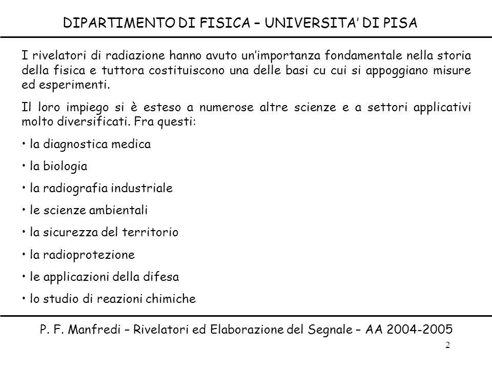 2 DIPARTIMENTO DI FISICA – UNIVERSITA DI PISA P. F. Manfredi – Rivelatori ed Elaborazione del Segnale – AA 2004-2005 I rivelatori di radiazione hanno