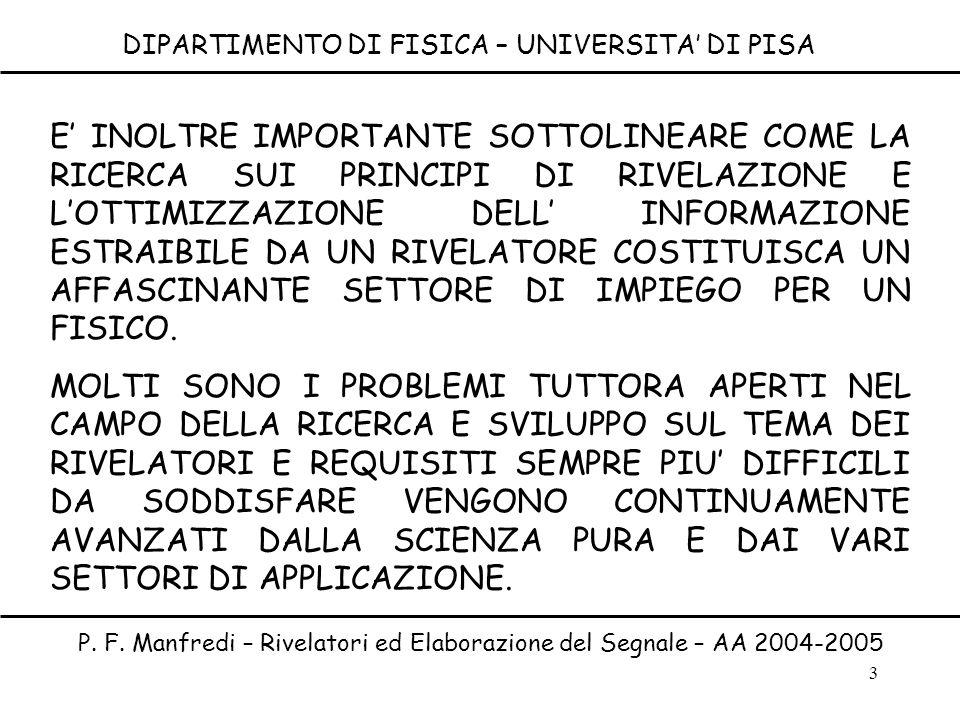 3 DIPARTIMENTO DI FISICA – UNIVERSITA DI PISA P. F. Manfredi – Rivelatori ed Elaborazione del Segnale – AA 2004-2005 E INOLTRE IMPORTANTE SOTTOLINEARE