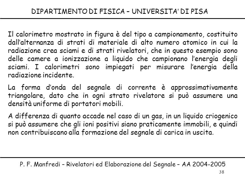 38 DIPARTIMENTO DI FISICA – UNIVERSITA DI PISA P. F. Manfredi – Rivelatori ed Elaborazione del Segnale – AA 2004-2005 Il calorimetro mostrato in figur