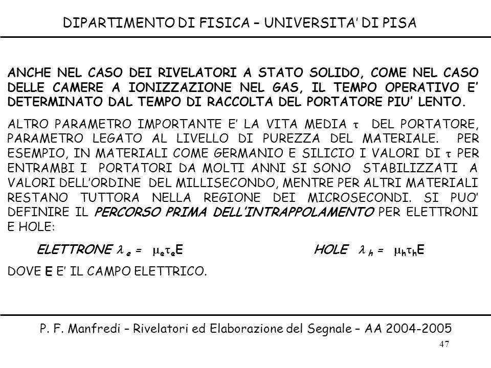 47 DIPARTIMENTO DI FISICA – UNIVERSITA DI PISA P. F. Manfredi – Rivelatori ed Elaborazione del Segnale – AA 2004-2005 ANCHE NEL CASO DEI RIVELATORI A