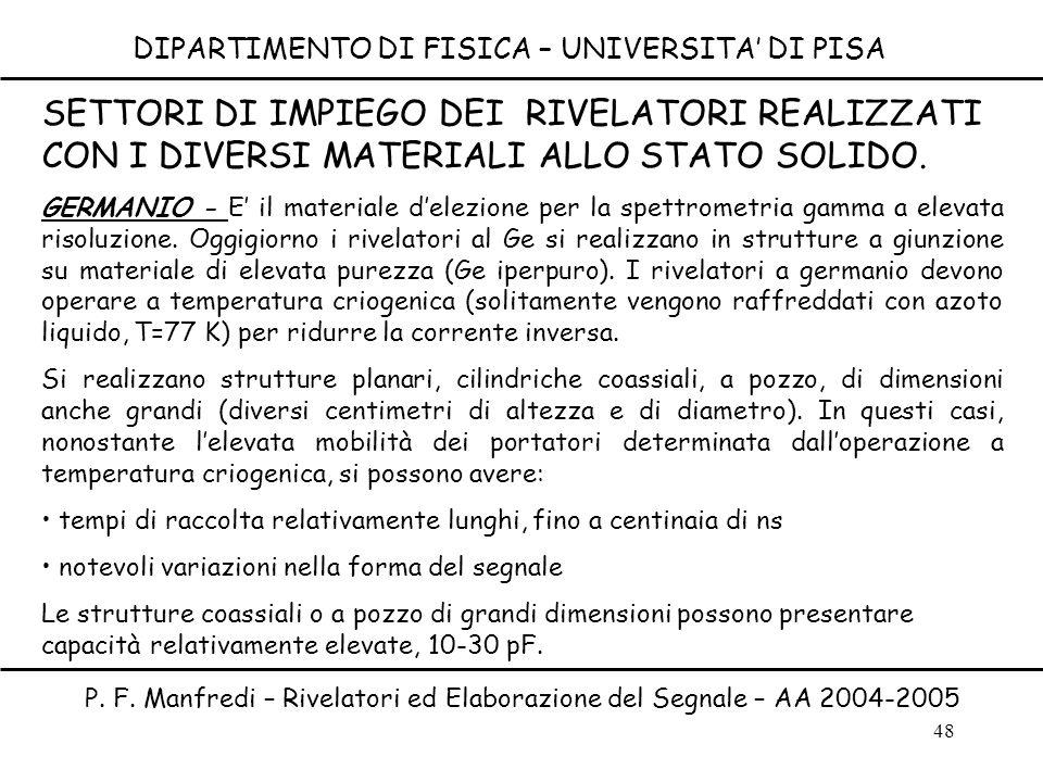 48 DIPARTIMENTO DI FISICA – UNIVERSITA DI PISA P. F. Manfredi – Rivelatori ed Elaborazione del Segnale – AA 2004-2005 SETTORI DI IMPIEGO DEI RIVELATOR