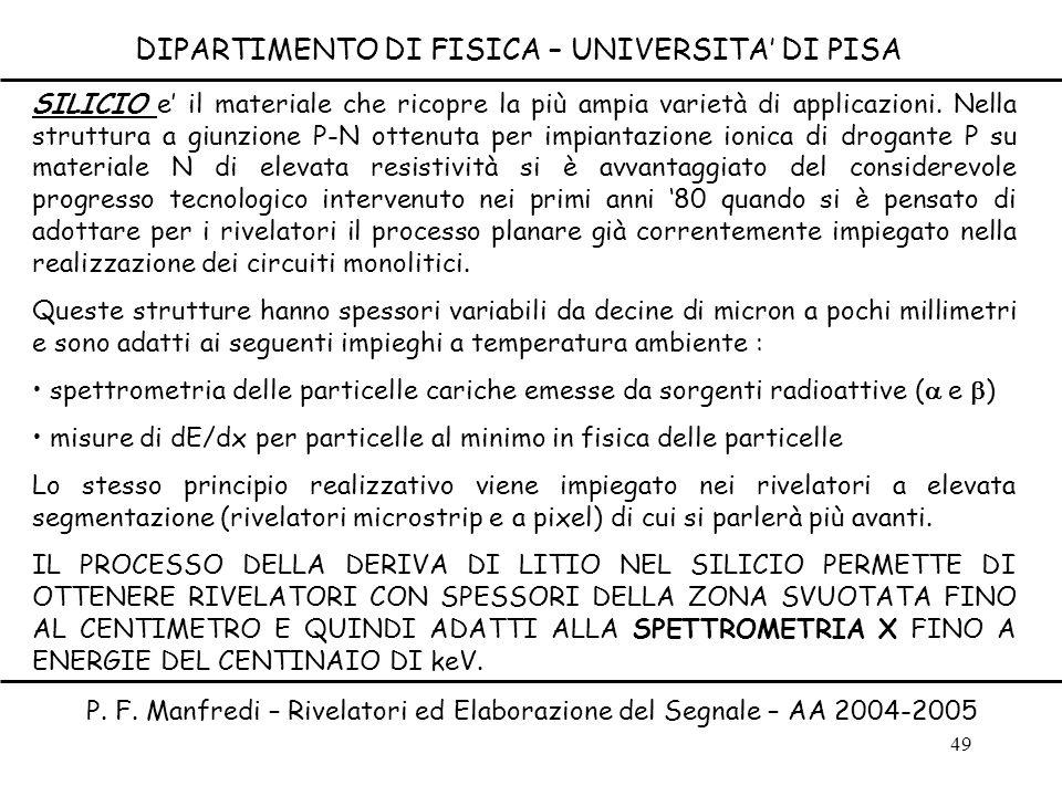 49 DIPARTIMENTO DI FISICA – UNIVERSITA DI PISA P. F. Manfredi – Rivelatori ed Elaborazione del Segnale – AA 2004-2005 SILICIO e il materiale che ricop
