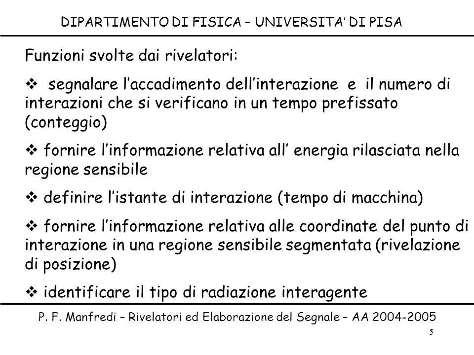 5 DIPARTIMENTO DI FISICA – UNIVERSITA DI PISA P. F. Manfredi – Rivelatori ed Elaborazione del Segnale – AA 2004-2005 Funzioni svolte dai rivelatori: s