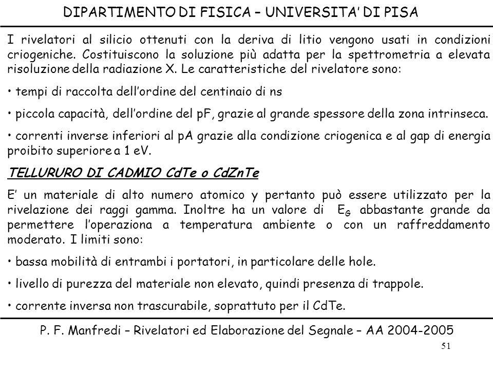 51 DIPARTIMENTO DI FISICA – UNIVERSITA DI PISA P. F. Manfredi – Rivelatori ed Elaborazione del Segnale – AA 2004-2005 I rivelatori al silicio ottenuti