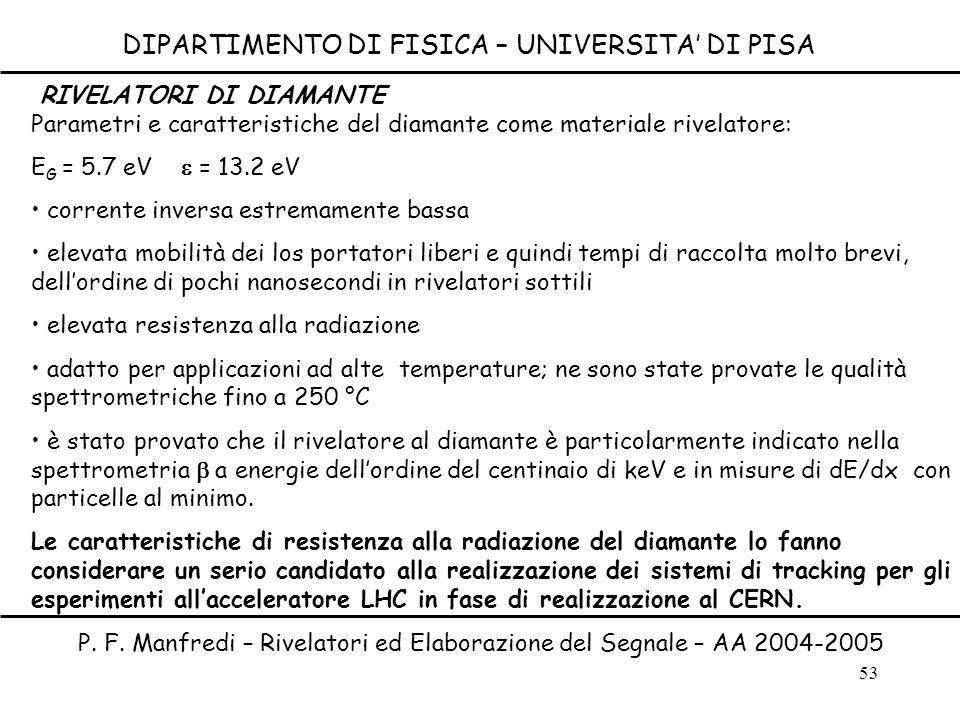53 DIPARTIMENTO DI FISICA – UNIVERSITA DI PISA P. F. Manfredi – Rivelatori ed Elaborazione del Segnale – AA 2004-2005 Parametri e caratteristiche del