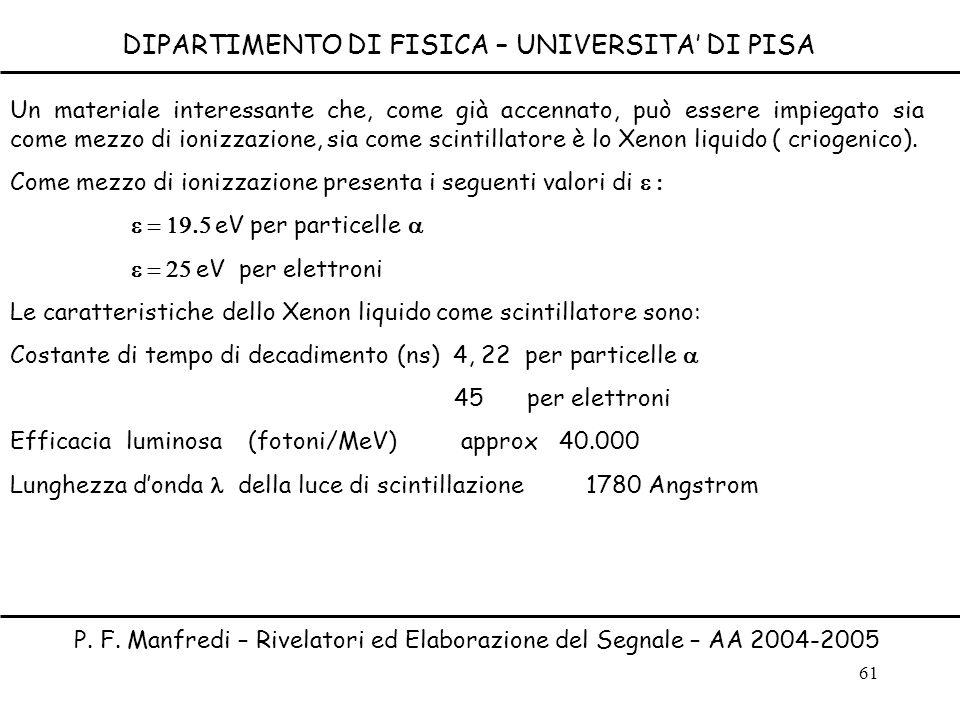61 DIPARTIMENTO DI FISICA – UNIVERSITA DI PISA P. F. Manfredi – Rivelatori ed Elaborazione del Segnale – AA 2004-2005 Un materiale interessante che, c