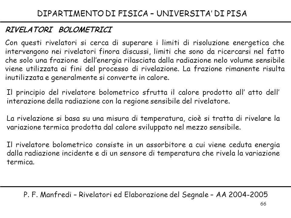 66 DIPARTIMENTO DI FISICA – UNIVERSITA DI PISA P. F. Manfredi – Rivelatori ed Elaborazione del Segnale – AA 2004-2005 RIVELATORI BOLOMETRICI Con quest
