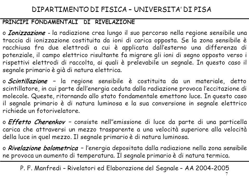 7 DIPARTIMENTO DI FISICA – UNIVERSITA DI PISA P. F. Manfredi – Rivelatori ed Elaborazione del Segnale – AA 2004-2005 PRINCIPI FONDAMENTALI DI RIVELAZI