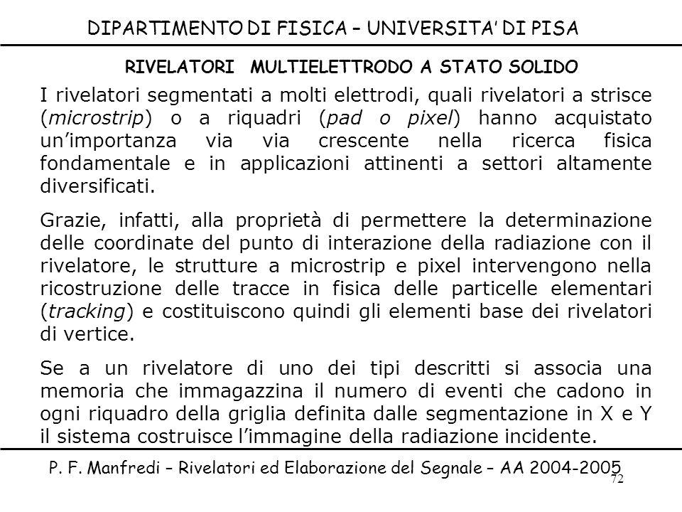 72 DIPARTIMENTO DI FISICA – UNIVERSITA DI PISA I rivelatori segmentati a molti elettrodi, quali rivelatori a strisce (microstrip) o a riquadri (pad o