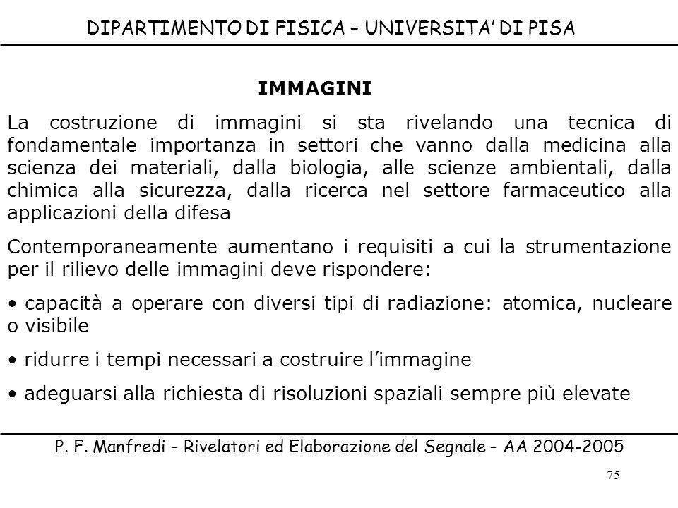 75 IMMAGINI La costruzione di immagini si sta rivelando una tecnica di fondamentale importanza in settori che vanno dalla medicina alla scienza dei ma