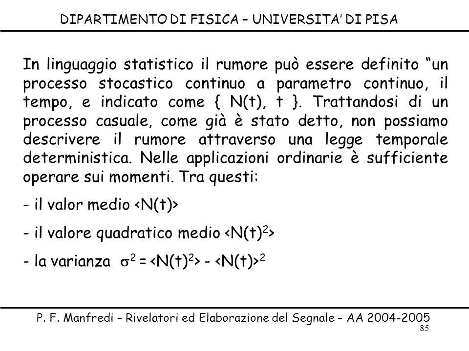 85 DIPARTIMENTO DI FISICA – UNIVERSITA DI PISA P. F. Manfredi – Rivelatori ed Elaborazione del Segnale – AA 2004-2005 In linguaggio statistico il rumo