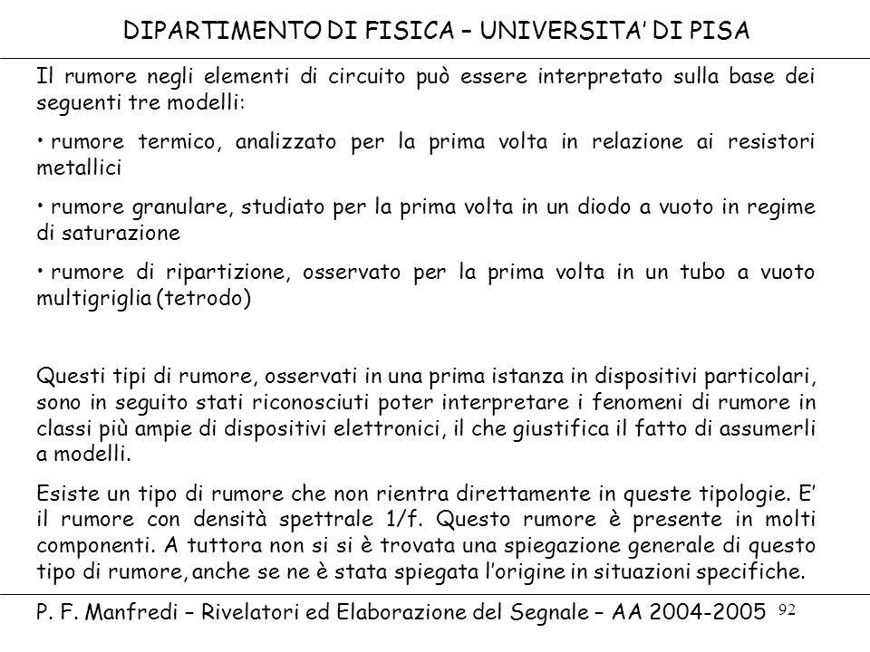 92 DIPARTIMENTO DI FISICA – UNIVERSITA DI PISA P. F. Manfredi – Rivelatori ed Elaborazione del Segnale – AA 2004-2005 Il rumore negli elementi di circ