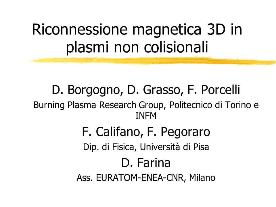 Riconnessione magnetica 3D in plasmi non colisionali D. Borgogno, D. Grasso, F. Porcelli Burning Plasma Research Group, Politecnico di Torino e INFM F