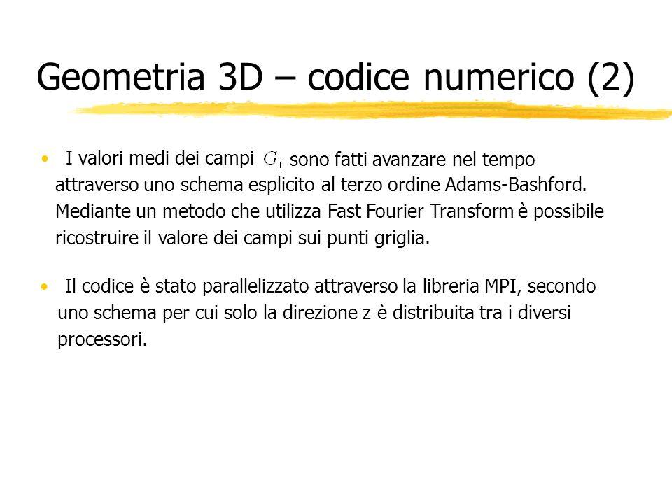 Geometria 3D – codice numerico (2) I valori medi dei campi sono fatti avanzare nel tempo attraverso uno schema esplicito al terzo ordine Adams-Bashfor
