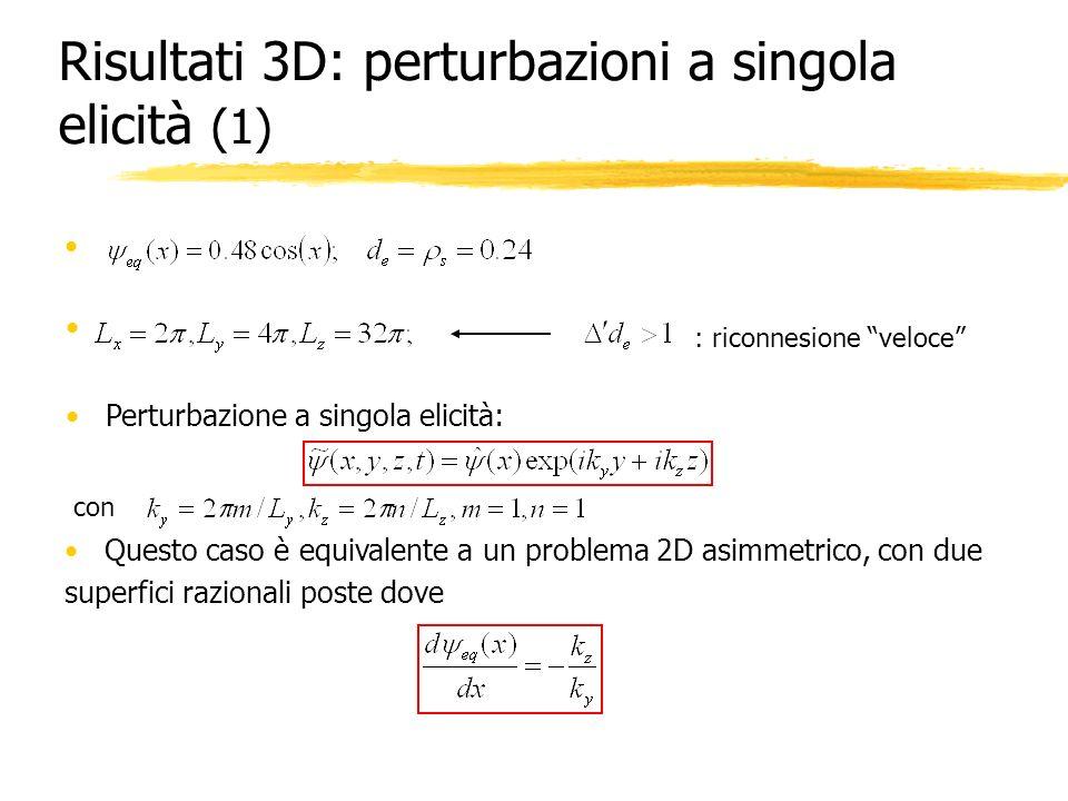 Risultati 3D: perturbazioni a singola elicità (1) : riconnesione veloce Perturbazione a singola elicità: con Questo caso è equivalente a un problema 2