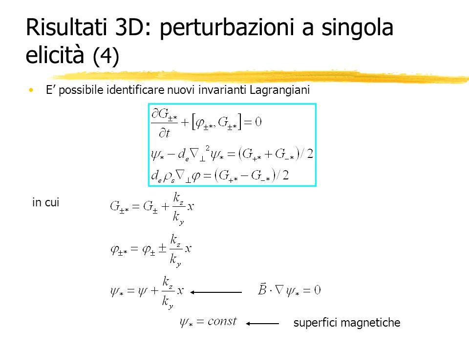 Risultati 3D: perturbazioni a singola elicità (4) E possibile identificare nuovi invarianti Lagrangiani in cui superfici magnetiche
