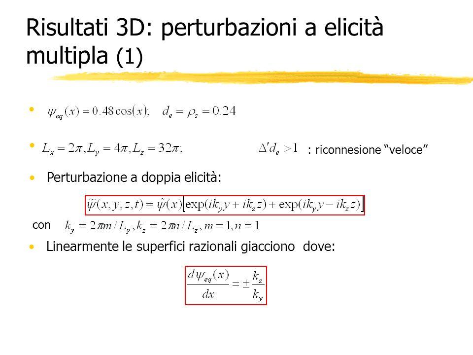 Risultati 3D: perturbazioni a elicità multipla (1) : riconnesione veloce Perturbazione a doppia elicità: con Linearmente le superfici razionali giacci
