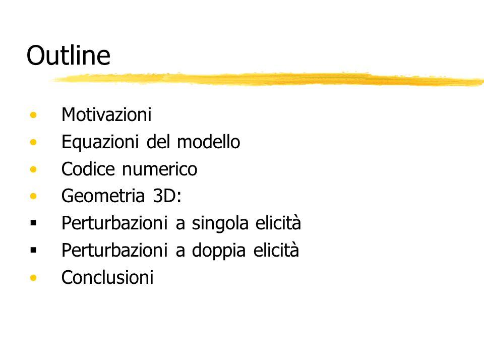 Outline Motivazioni Equazioni del modello Codice numerico Geometria 3D: Perturbazioni a singola elicità Perturbazioni a doppia elicità Conclusioni